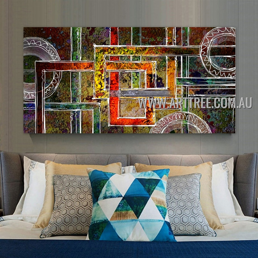 Roundish and Square Geometric Heavy Texture Artist Handmade Framed Modern Abstract Canvas Art For Room Wall Adornment