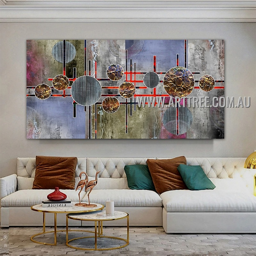 Roundish Contemporary Geometric Artist Handmade Heavy Texture Framed Abstract Art Painting For Room Wall Onlay