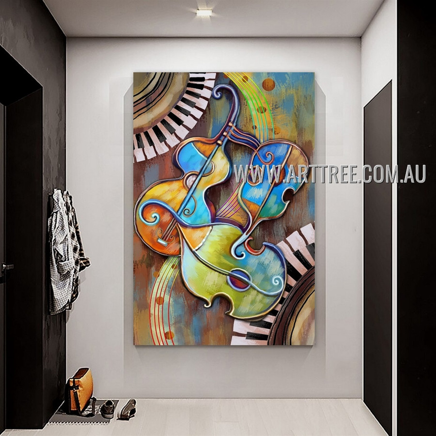 Colorific Violin Abstract Artist Handmade Heavy Texture Framed Contemporary Art Painting For Room Wall Adornment
