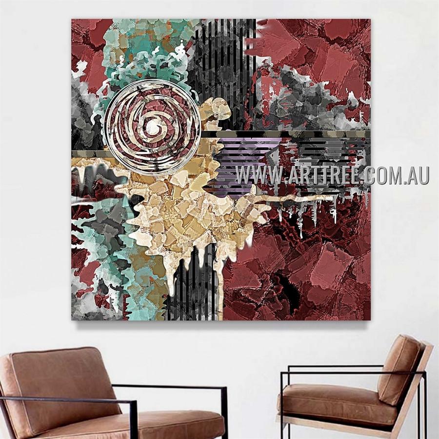 Multicolor Maculas Artist Handmade Heavy Texture Framed Contemporary Acrylic Abstract Artwork For Room Wall Decor