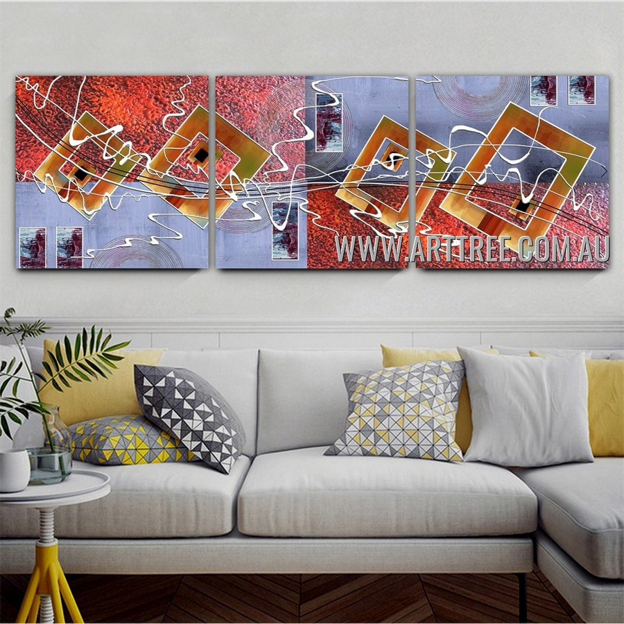 Zigzag Boxes Abstract Modern Artist Handmade Heavy Texture 3 Piece Split Complementary Paintings Wall Art Set For Room Wall Getup