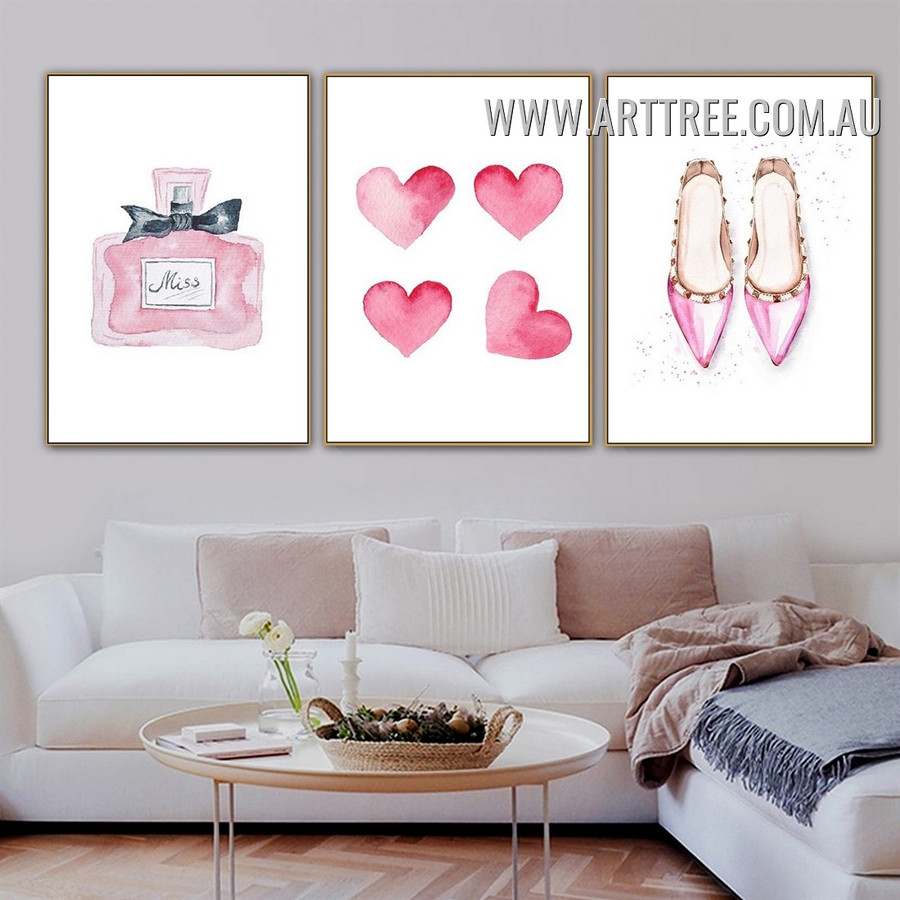 Dame Perfume Hearts 3 Piece Minimalist Watercolor Modern Art Photograph Canvas Print for Room Wall Decoration