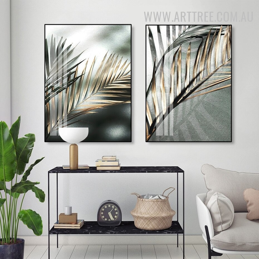 Palm Leaf Shadow Abstract Floral Retro Painting Photo Canvas Print for Room Wall Getup