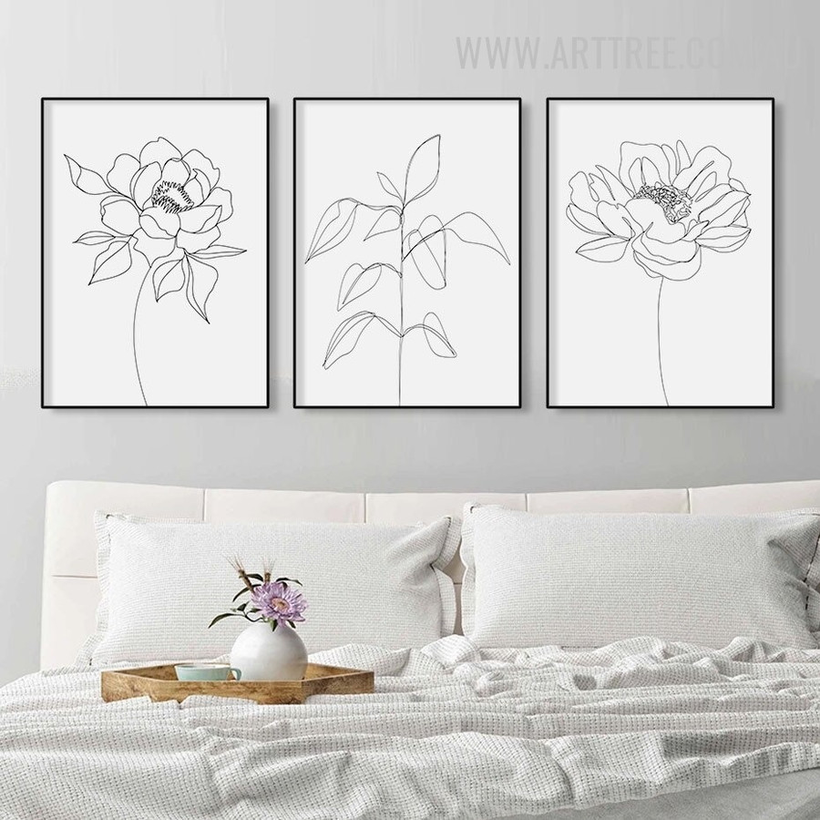 Rose Abstract 3 Piece Floral Vintage Wall Art Photograph Canvas Print for Room Drape