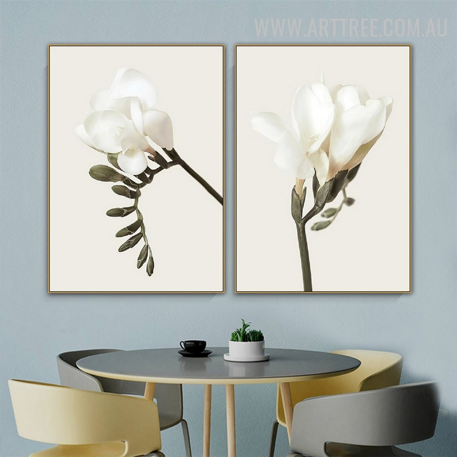 Blossom Leaves Flower Abstract Floral Vintage Photo 2 Piece Canvas Print Wall Art for Room Finery