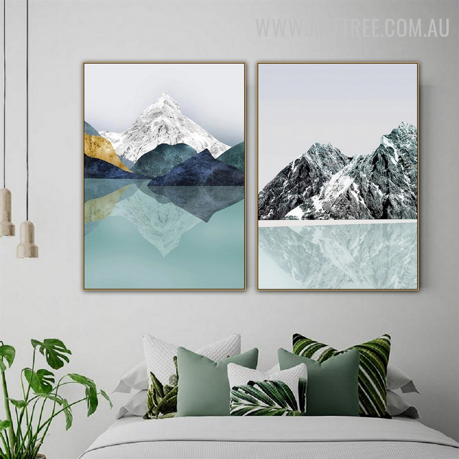 Glaciokarst Mountain Abstract Modern Naturescape 2 Piece Art Picture Canvas Print for Room Wall Décor