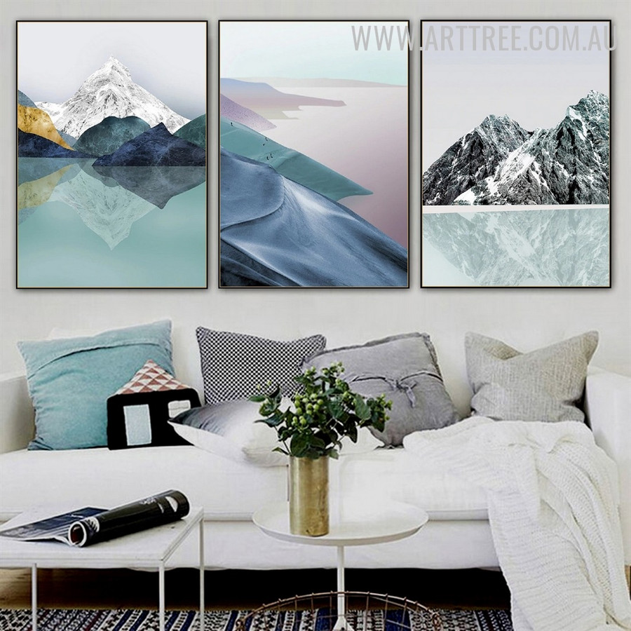 Colourful Hills Snow 3 Piece Abstract Naturescape Modern Painting Picture Canvas Print for Room Wall Drape