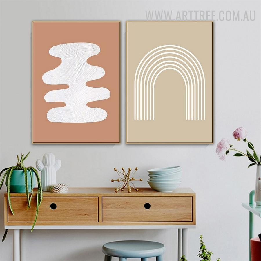 Tarnish Lines Abstract Scandinavian Painting Photograph 2 Piece Geometrical Canvas Print for Room Wall Garnish