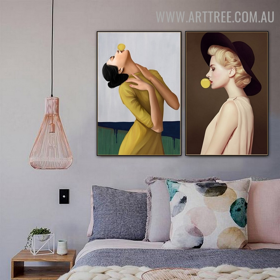 Bubble Gum Rectangle Abstract Figure Pic Canvas 2 Panel Modern Art Print for Room Wall Onlay
