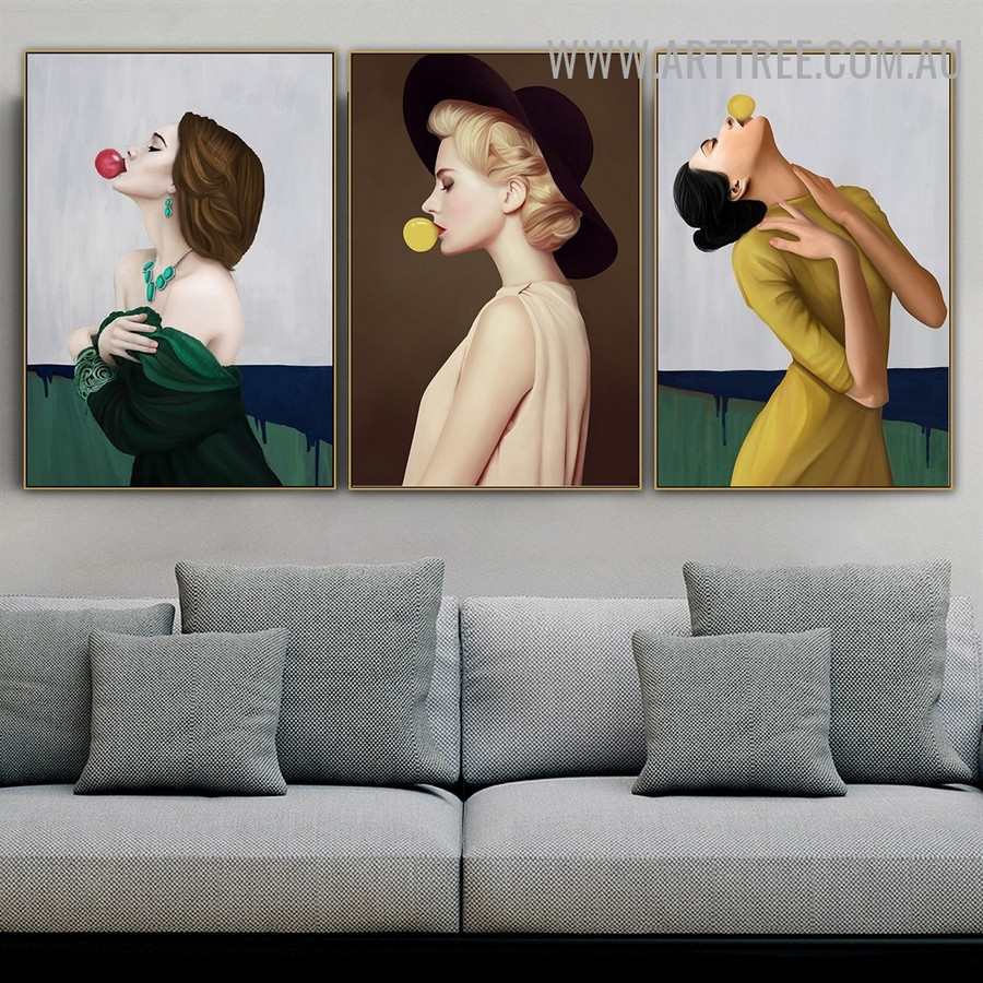 Woman Bubble Gum Dress 3 Piece Abstract Figure Modern Painting Image Canvas Print for Room Wall Getup