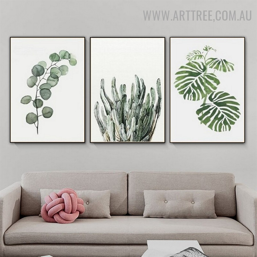 Eucalyptus Leafage Monstera 3 Piece Nordic Contemporary Floral Painting Picture Canvas Print for Room Wall Onlay