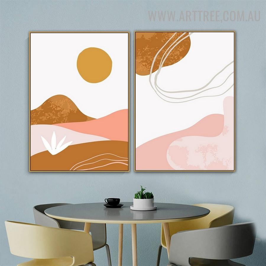 Sun Mount Sand Landscape 2 Panel Abstract Scandinavian Artwork Photograph Canvas Print for Room Wall Onlay