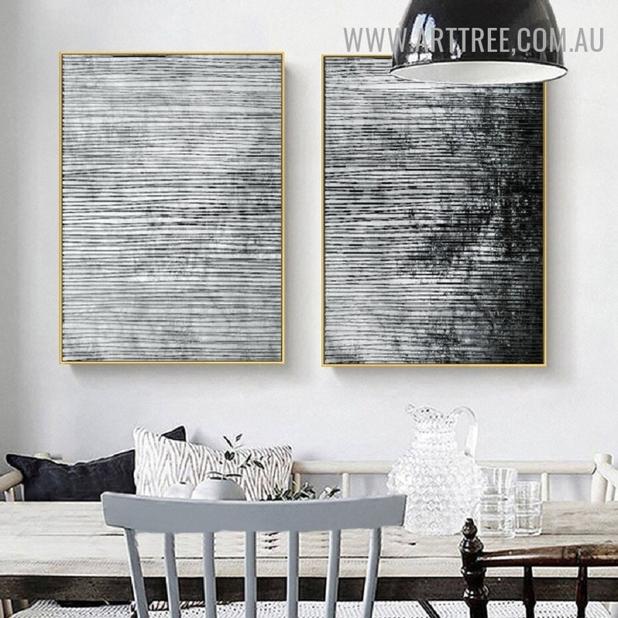 Blot Lines Abstract Vintage Geometric 2 Piece Wall Art Picture Canvas Print for Room Wall Finery