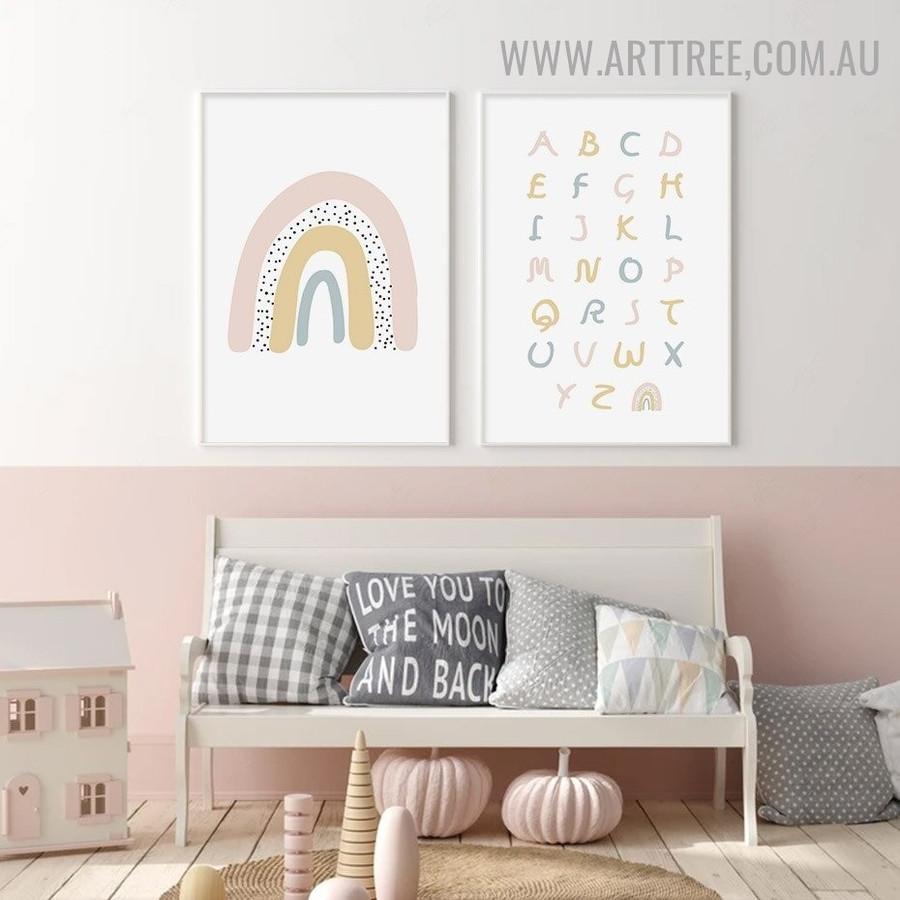 Alphabets Rainbow 2 Piece Abstract Minimalist Wall Art Modern Image Canvas Print for Room Garnish