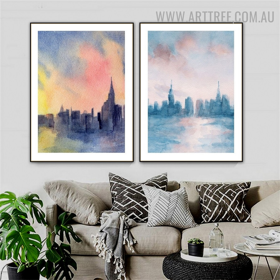 Motley Sky Land Abstract Landscape Wall Art Watercolor Photograph 2 Piece Canvas Print for Room Equipment