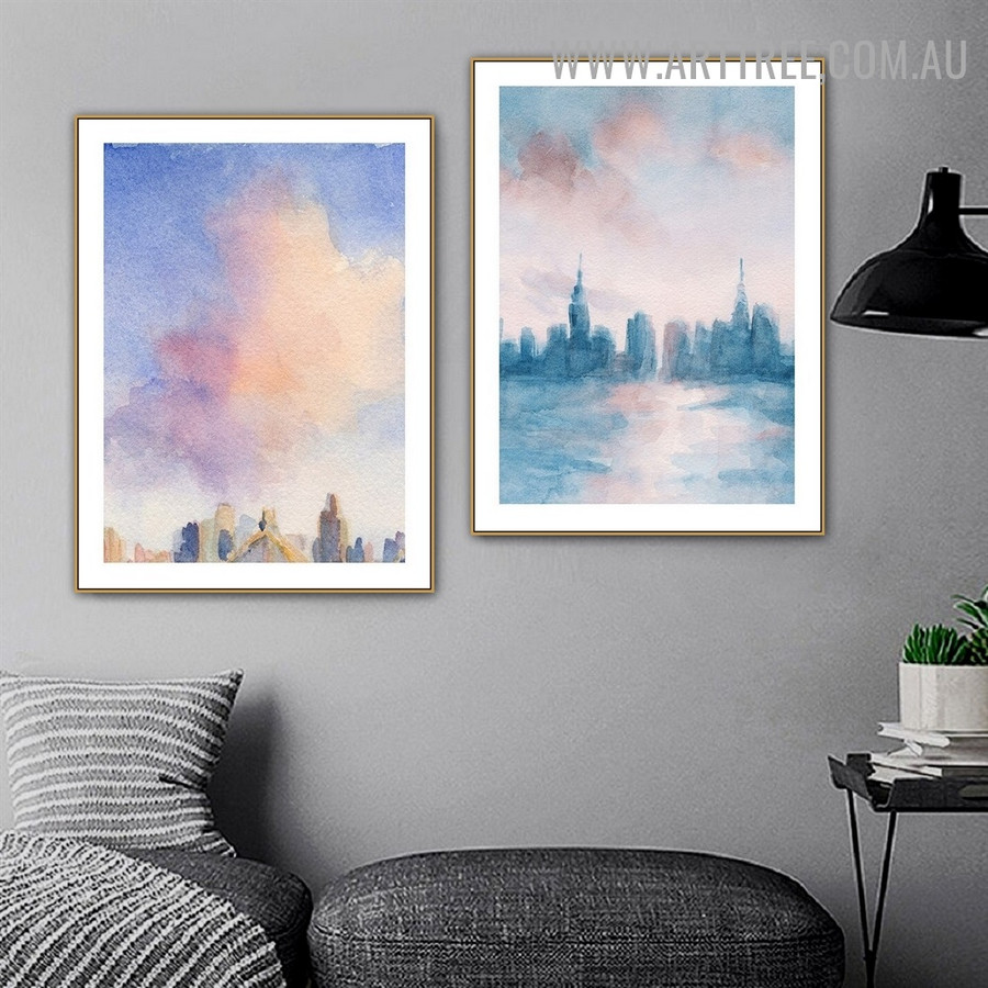 Hued Erection Sky Abstract Landscape Watercolor Painting Photo 2 Piece Canvas Print for Room Wall Décor