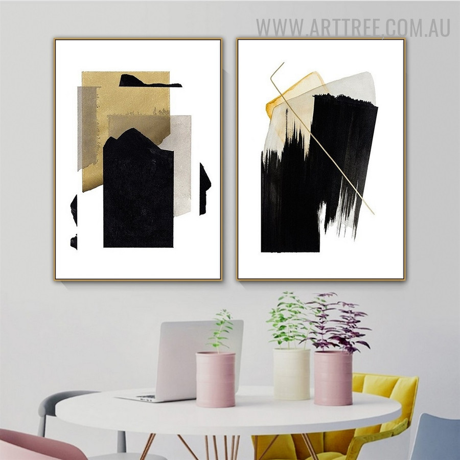 Black Blots Rectangular Abstract 2 Piece Geometric Artwork Picture Vintage Canvas Print for Room Wall Finery