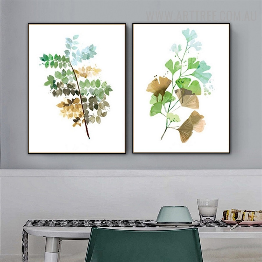 Ginkgo Leaf 2 Piece Abstract Floral Modern Painting Picture Canvas Print for Room Wall Outfit