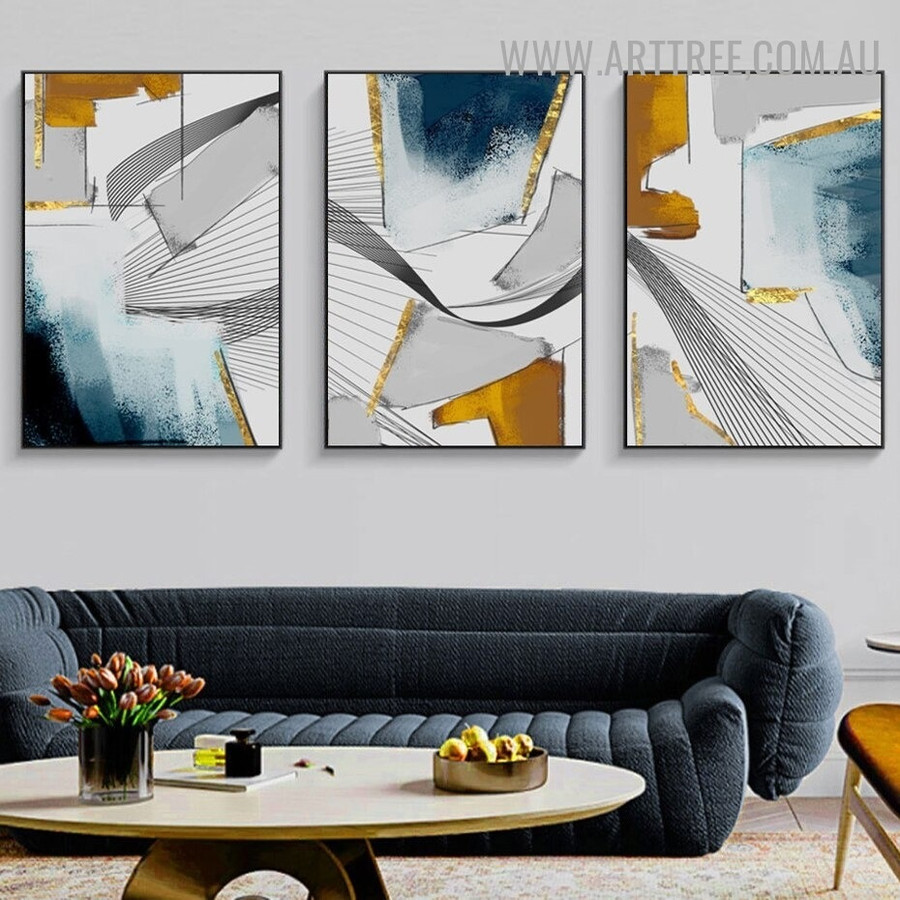 Splashes Alignment Lines Geometric Modern Painting Image 3 Piece Abstract Canvas Print for Room Wall Adornment