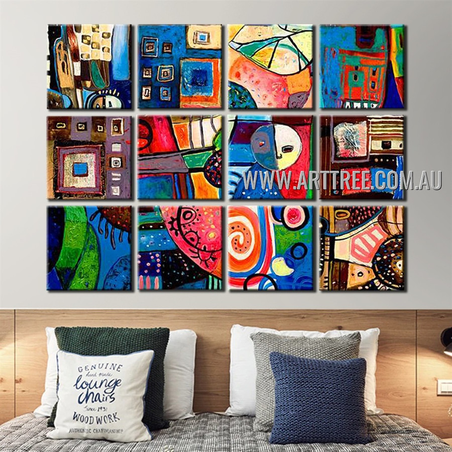 Motley Speckles Abstract Modern Handmade Artist Heavy Texture 12 Piece Split Panel Painting Set For Room Finery