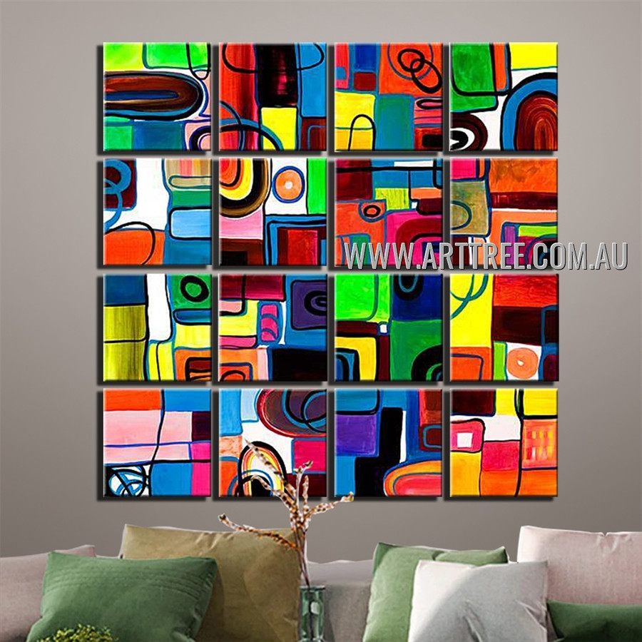 Geometric Modern Design Abstract Handmade Artist Heavy Texture 16 Piece Multi Panel Canvas Oil Painting Wall Art Set For Room Adornment