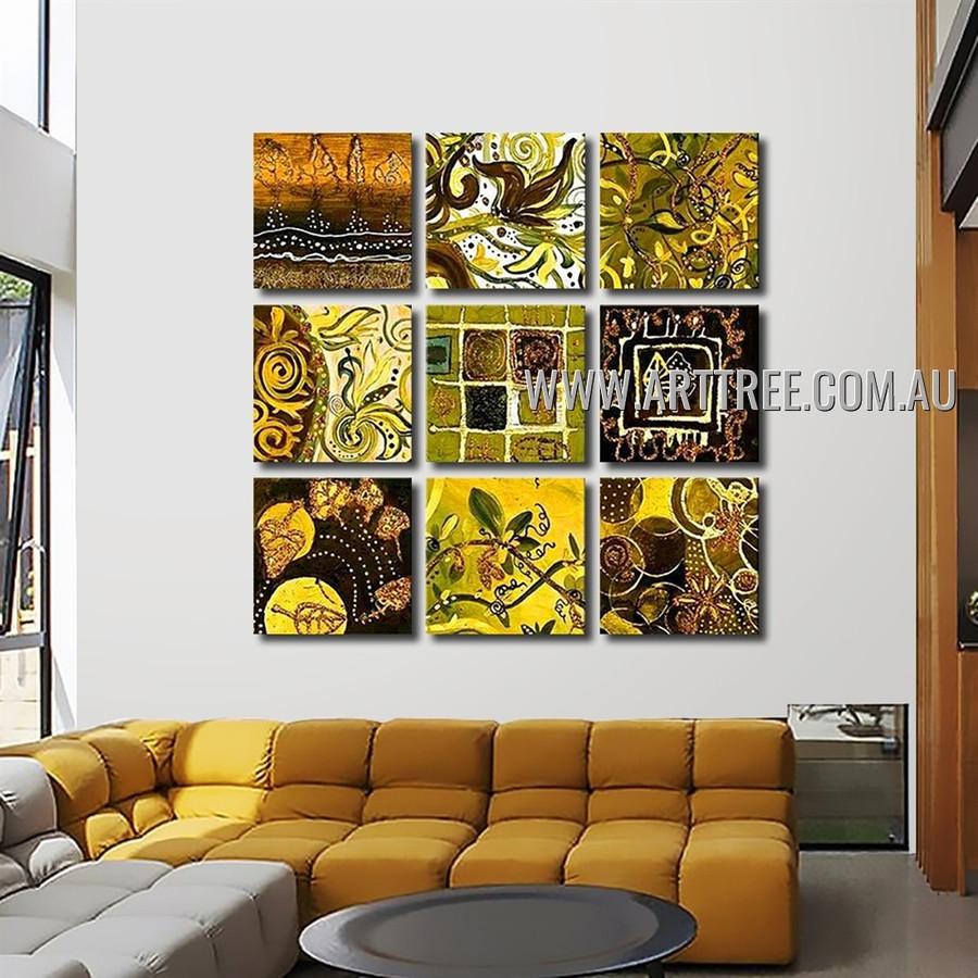 Varicolored Blots Abstract Vintage Handmade Artist Heavy Texture 9 Piece Split Panel Painting Wall Art Set For Room Adornment