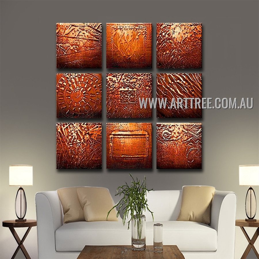 Multicolored Smirches Abstract Vintage Handmade Artist Heavy Texture 9 Piece Multi Panel Oil Paintings Wall Art Set For Room Finery