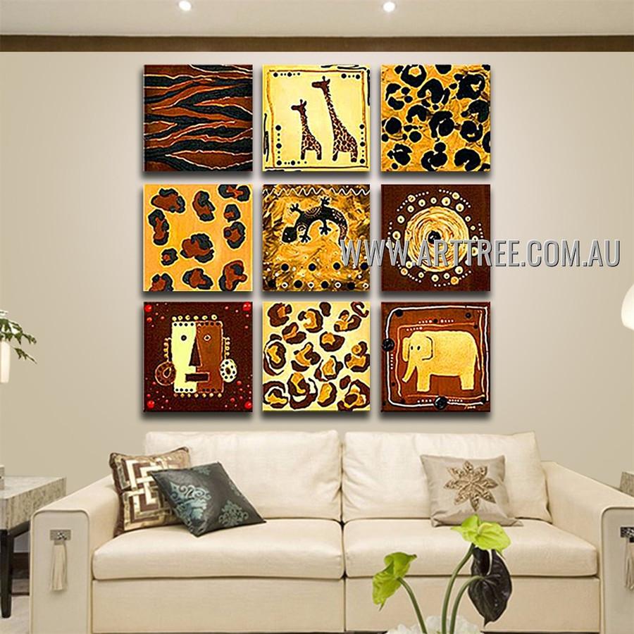 Lizard and Elephant Animal Retro Handmade Artist Heavy Texture 9 Piece Multi Panel Canvas Oil Painting Wall Art Set For Room Getup