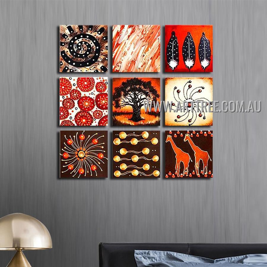 Two Giraffe Animal Vintage Handmade Artist Heavy Texture 9 Piece Multi Panel Canvas Oil Painting Wall Art Set For Room Adornment