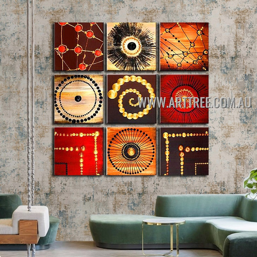 Twisting Mackles Abstract Vintage Handmade Artist Heavy Texture 9 Piece Split Panel Painting Wall Art Set For Room Décor