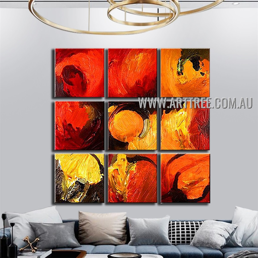 Multicolor Blobs Abstract Vintage Handmade Artist Heavy Texture 9 Piece Split Canvas Painting Wall Art Set For Room Adornment