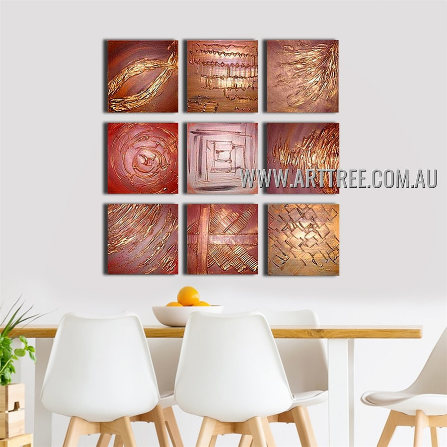 Streaks Design Abstract Vintage Handmade Artist Heavy Texture 9 Piece Multi Panel Canvas Oil Painting Wall Art Set For Room Decor