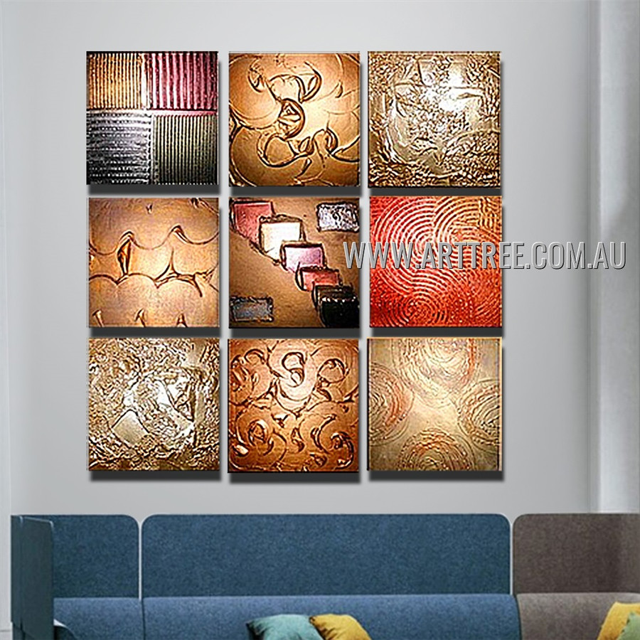 Twirly Streaks Design Abstract Vintage Handmade Artist Heavy Texture 9 Piece Multi Panel Canvas Oil Painting Wall Art Set For Room Decoration