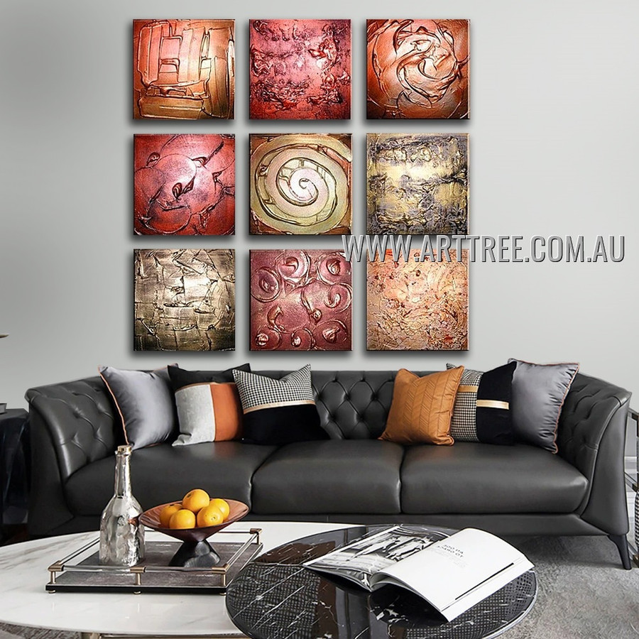 Tortuous Design Abstract Modern Handmade Artist Heavy Texture 9 Piece Split Oil Paintings Wall Art Set For Room Decor