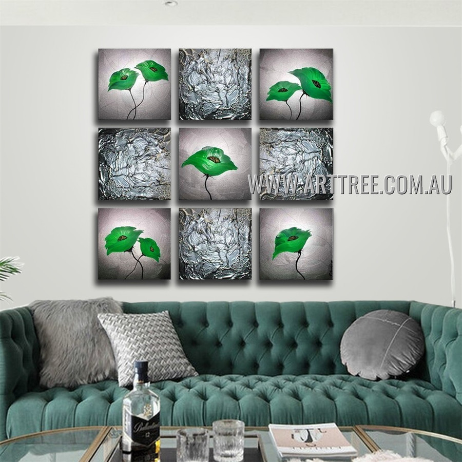 Green Flowers Floral Vintage Handmade Artist Heavy Texture 9 Piece Split Oil Paintings Wall Art Set For Room Finery