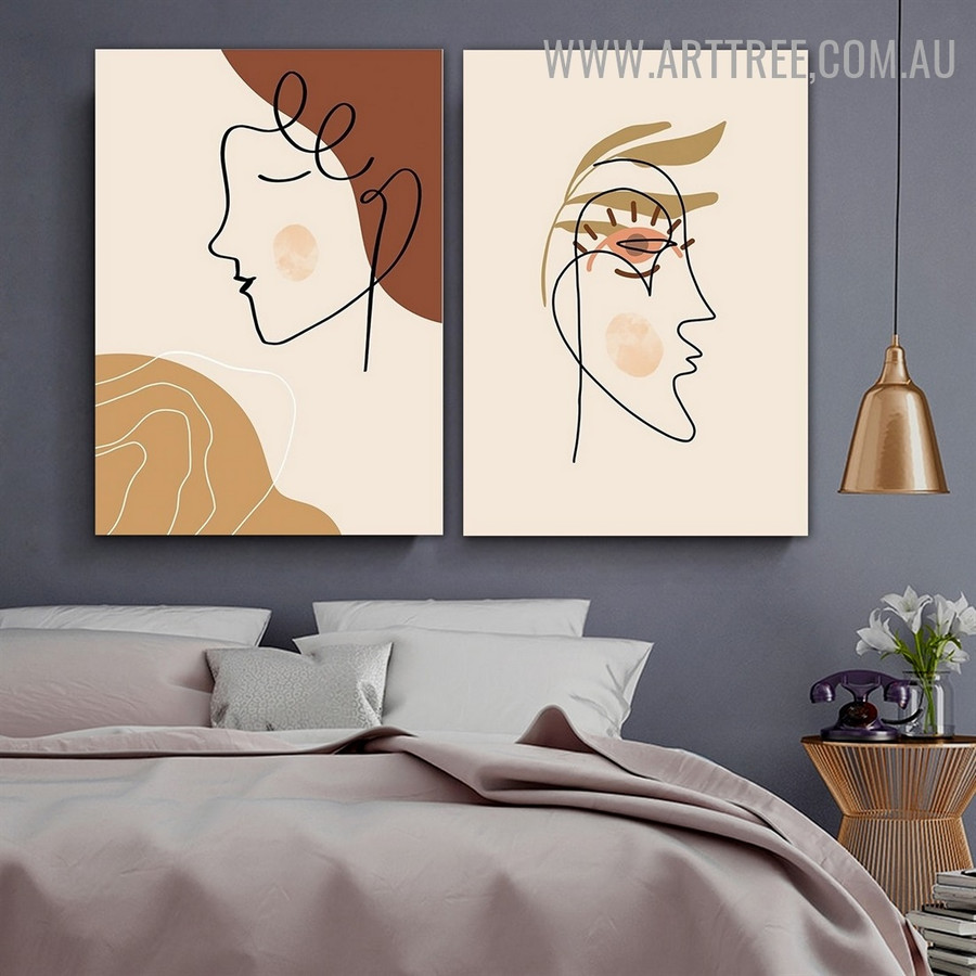 Feme Tarnish Female Face Abstract Painting Pic 2 Piece Scandinavian Floral Figure Canvas Print for Room Wall Assortment