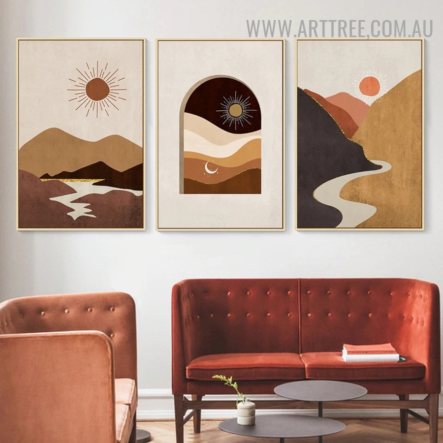 Daystar Moon Naturescape Abstract Painting Photo Scandinavian 3 Piece Canvas Print for Room Wall Garnish