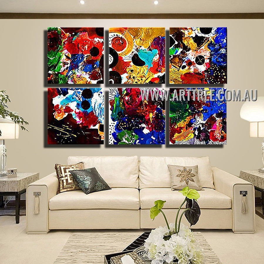 Coloured Tarnishes Abstract Modern Handmade Artist 6 Piece Split Oil Painting Wall Art Set For Room Tracery