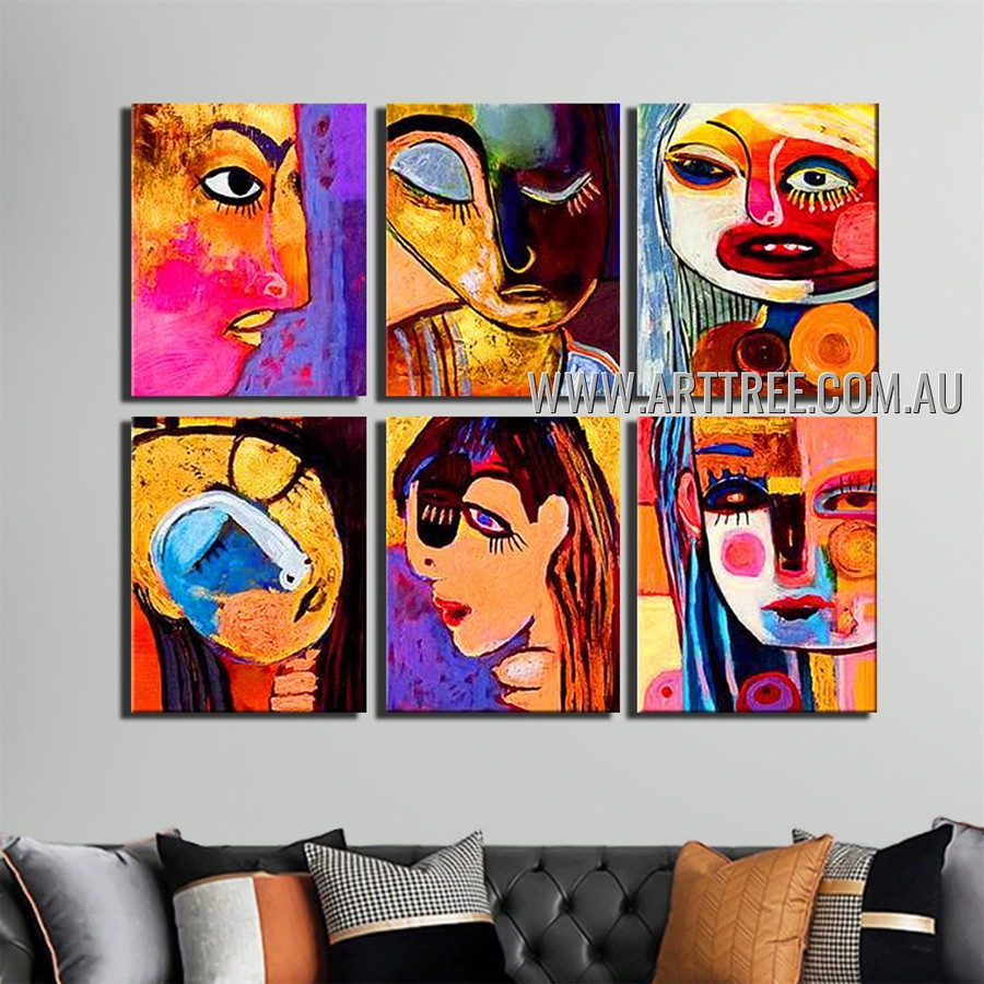 Colorific Girls Abstract Modern Handmade Artist Heavy Texture 6 Piece Multi Panel Canvas Painting Wall Art Set For Room Onlay