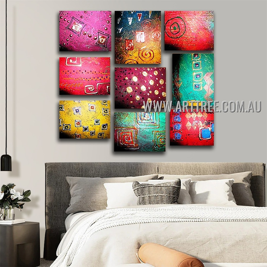 Zigzag Speckles Abstract Modern Handmade Artist Heavy Texture 9 Piece Split Canvas Paintings Wall Art Set For Room Getup