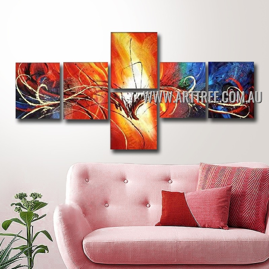 Twisty Lineaments Abstract Artist Handmade 6 Piece Split Canvas Paintings For Room Getup