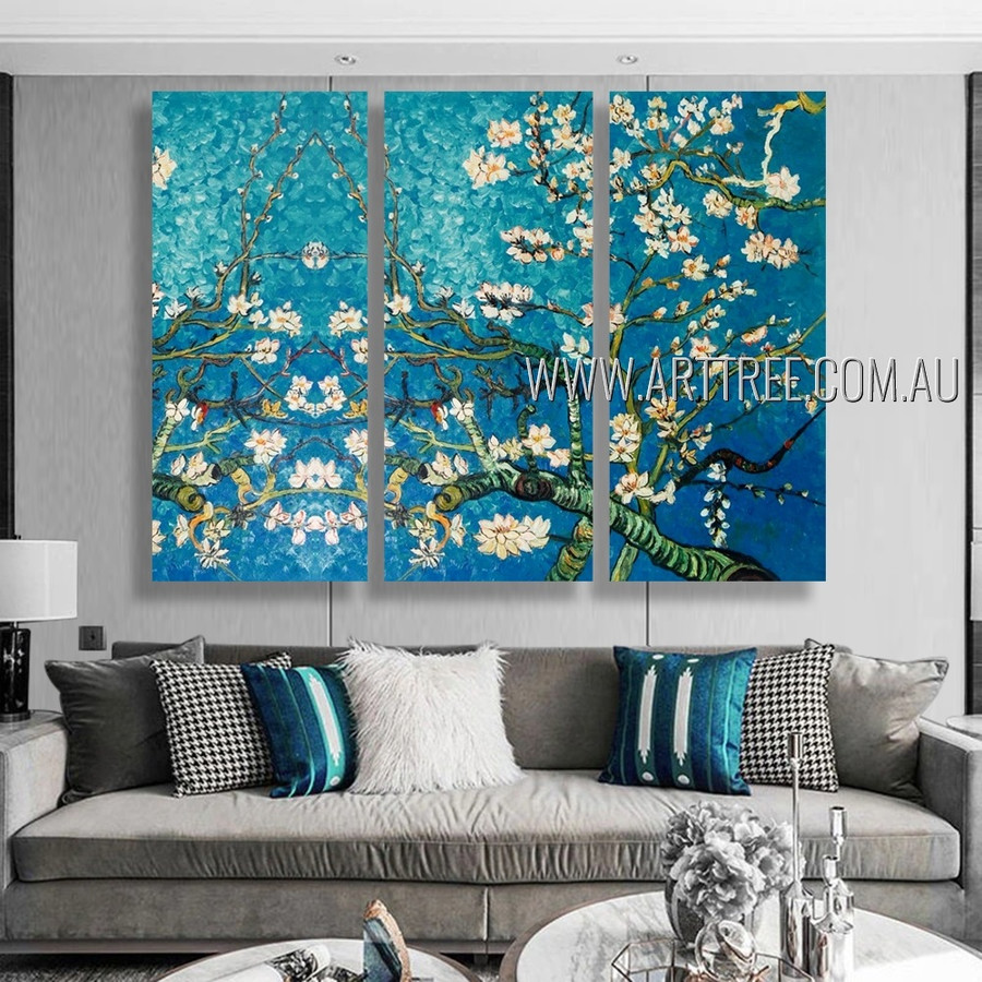 Almond Blossoms Floral Reproduction Heavy Texture Artist Handmade 3 Piece Multi Panel Oil Paintings Wall Art Set For Room Ornament