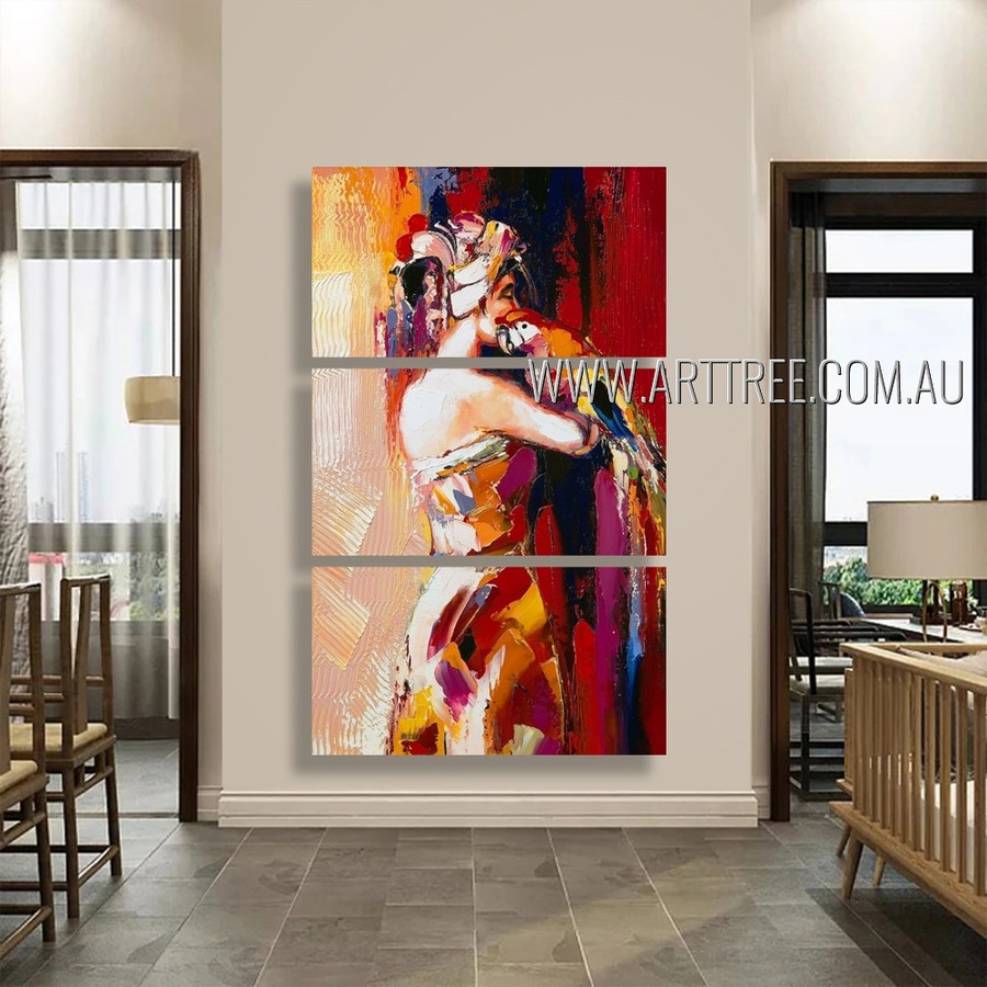 Woman with Parrot Bird Figure Reproduction Artist Handmade 3 Piece Split Oil Painting Wall Art Set For Room Moulding