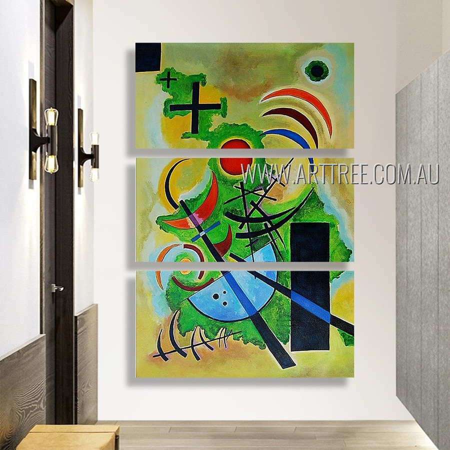 Solid Green Abstract Reproduction Artist Handmade 3 Piece  Multi Panel Canvas Oil Painting Wall Art Set For Room Tracery
