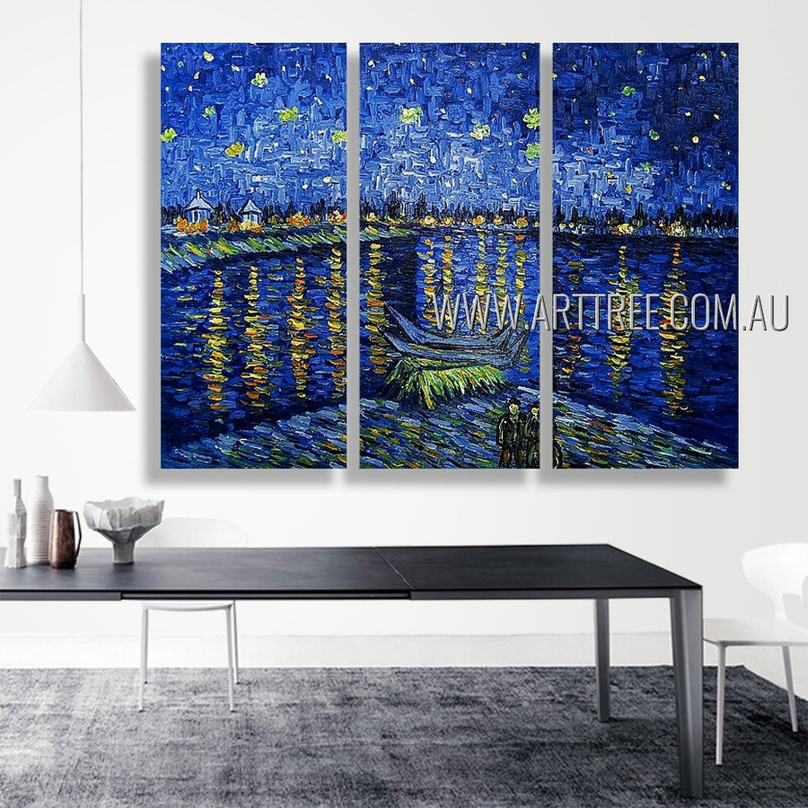 Starry Night Over The Rhone Landscape Reproduction Handmade Heavy Texture 3 Piece Multi Panel Canvas Painting For Room Molding