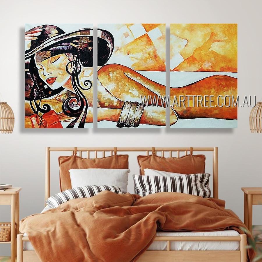 Sleeping Woman Nude Figure Reproduction Heavy Texture Handmade 3 Piece Split Canvas Paintings Wall Art Set For Room Décor