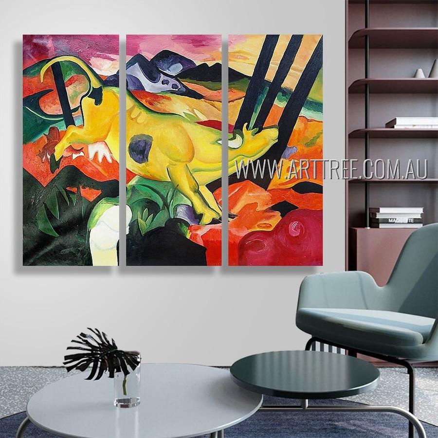 Yellow Cow Animal Heavy Texture Handmade 3 Piece Split Canvas Paintings Wall Art Set For Room Flourish