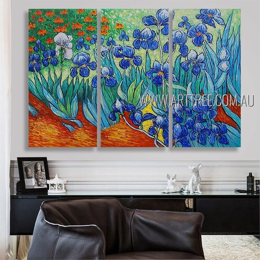 Irises Floral Landscape Post Impressionist Handmade Artist 3 Piece Split Panel Painting For Room Finery