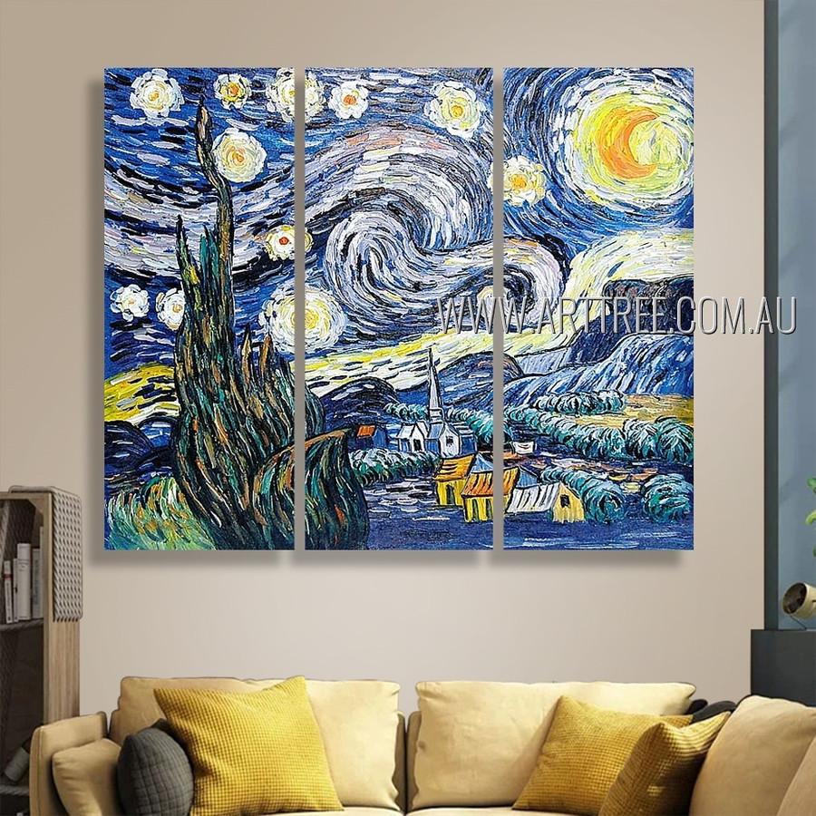 Starry Night II Landscape Post Impressionist Handmade Artist 3 Piece Multi Panel Wall Art Paintings Wall Art Set For Room Garnish