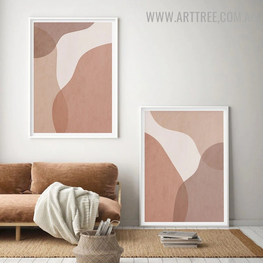 Twirly Speckle Spots Abstract Scandinavian Contemporary Painting Pic 2 Panel Canvas Print for Room Wall Garniture